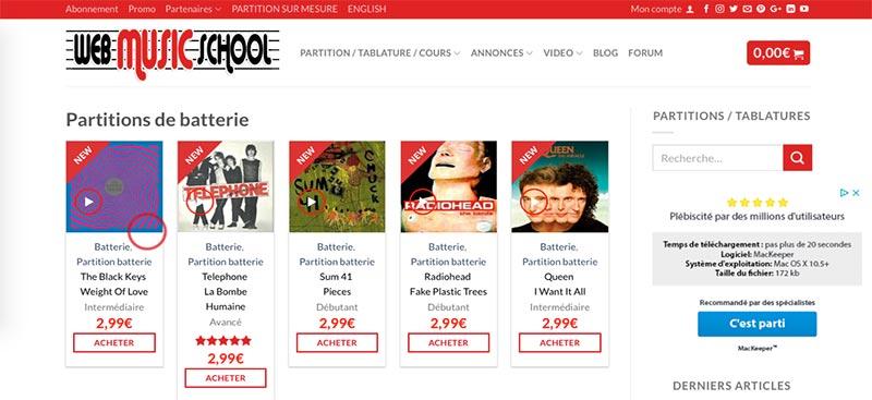 Fiche produit Web Music School